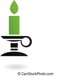 Candle - Green candle in candleholder isolated on white