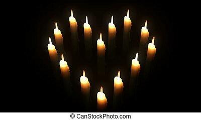 Candle Heart. Loop. CG. HD.