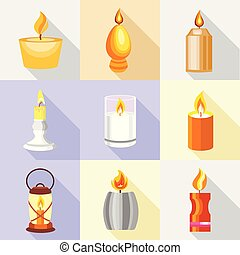 Candle holder icons set, cartoon style