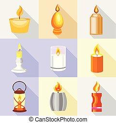 Candle holder icons set, cartoon style