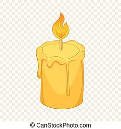 Candle icon, cartoon style
