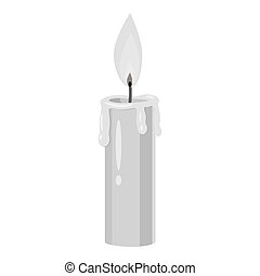 Candle icon, gray monochrome style