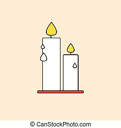 Candle Icon Happy Thanksgiving Day Autumn Traditional...