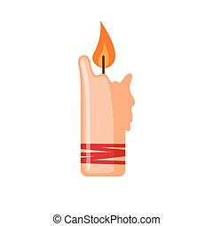 Candle icon in flat style.