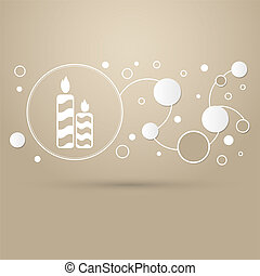 Candle icon on a brown background with elegant style and modern design infographic.