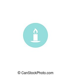 Candle icon on blue background. Vector illustration.
