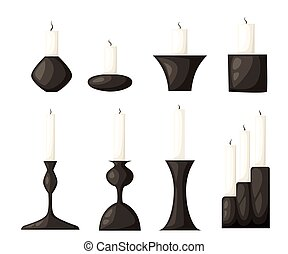 Candle icon set for interiors Flat design style vector illustration.