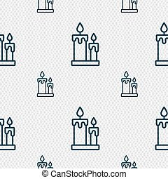 Candle icon sign. Seamless pattern with geometric texture. Vector