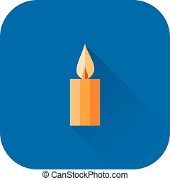 Candle icon. Vector. Flat design with long shadow.
