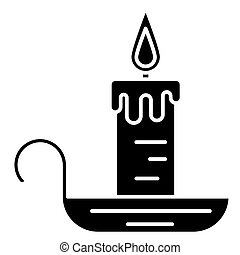 candle icon, vector illustration, black sign on isolated background