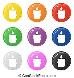 Candle icons set 9 colors isolated on white. Collection of glossy round colorful buttons. Vector illustration for any design.