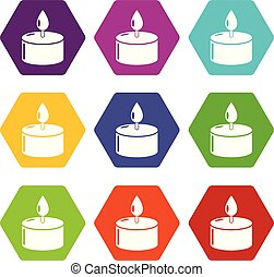 Candle icons set 9 vector