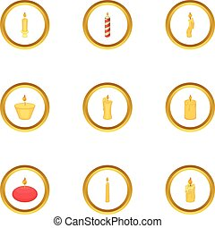 Candle icons set, cartoon style