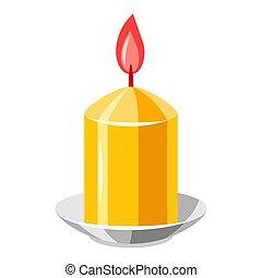 candle., ilustração, amarela, queimadura