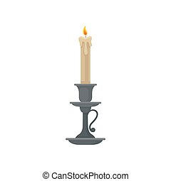 Candle in a candlestick, vintage candle holder vector Illustration on a white background