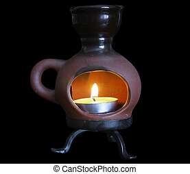 candle in a ceramic candlestick