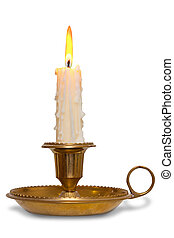 Candle in brass holder isolated - A dripping wax candle...