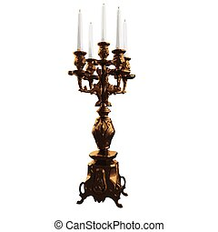 candle in bronze candlestick. vector illustration. Isolated on white background