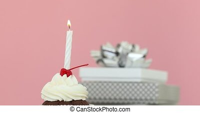 Candle in cupcake pink background