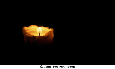 Candle In Dark Room - Candle burning in the dark