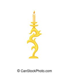 Candle in golden candlestick, curve vintage candle holder vector Illustration on a white background