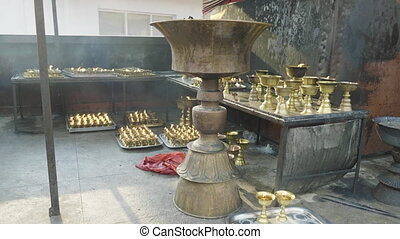 Candle in the Boudhanath. Kathmandu valley, Nepal. - Candle...