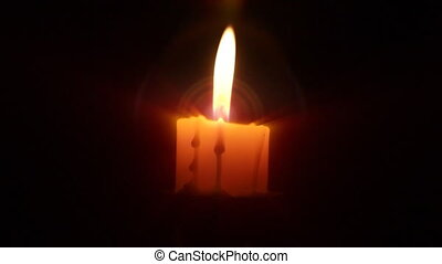 Candle in the dark, close up