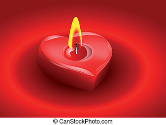 Candle in the form of heart