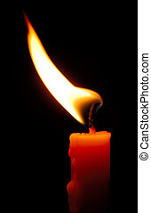 Image shows a red candle with a shimmering flame