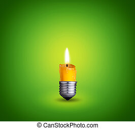 candle into light bulb - candle into lighting bulb on green...