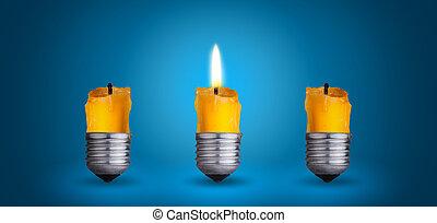candle into light bulb - candle into lighting bulb.Idea...