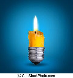 candle into lighting bulb. - candle into lighting bulb on...