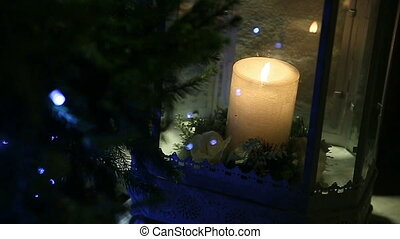 Candle lamp. - Candle lamp and christmas tree.