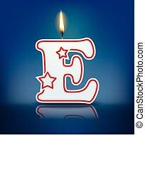 Candle letter E