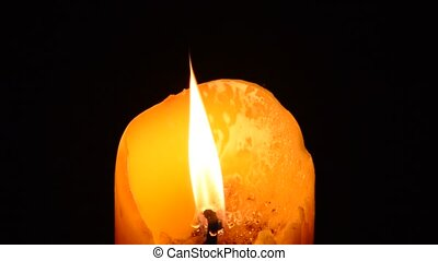 candle light blowing from wind in the dark night - candle, ...