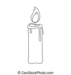 candle light decoration isolated design icon line style