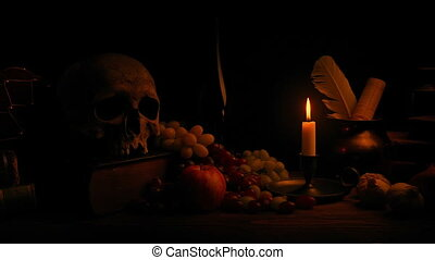 Candle Lights Classical Still Life Arrangement - Tracking...