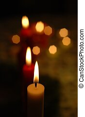 candle lights - Close-up of candle lights creating a fine...