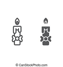 Candle line and glyph icon, fire and light, flame sign, vector graphics, a linear pattern on a white background.