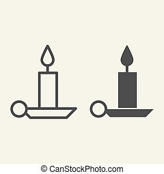 Candle line and solid icon. Holiday candlestick on holder outline style pictogram on white background. New Year or Christmas candle for mobile concept and web design. Vector graphics.