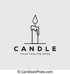 Candle line art logo vector illustration design