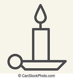 Candle line icon. Holiday candlestick on holder outline style pictogram on white background. New Year or Christmas candle for mobile concept and web design. Vector graphics.