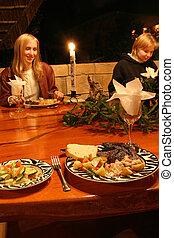 Candle lit dinner - Steaks for dinner on Safari