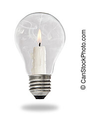 Candle lit steaming inside a light bulb - Candle lit...