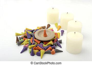 candle., mucchio, coni, incenso