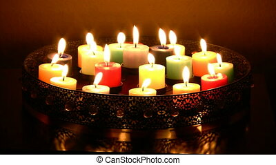Multi color candles burning