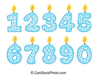 Candle number set, illustration of birthday candles on a white background,
