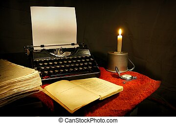 old typewriter - candle, old typewriter and old book