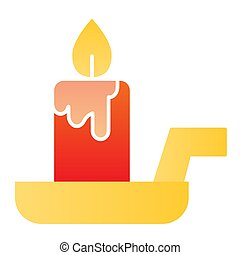 Candle on a candlestick flat icon. Burning fire and wax stick on plate. Halloween party vector design concept, gradient style pictogram on white background.