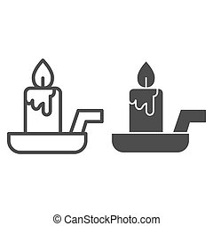 Candle on a candlestick line and solid icon. Burning fire and wax stick on plate. Halloween party vector design concept, outline style pictogram on white background.